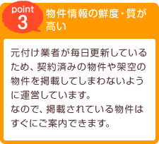 [point3] 物件情報の鮮度・質が高い